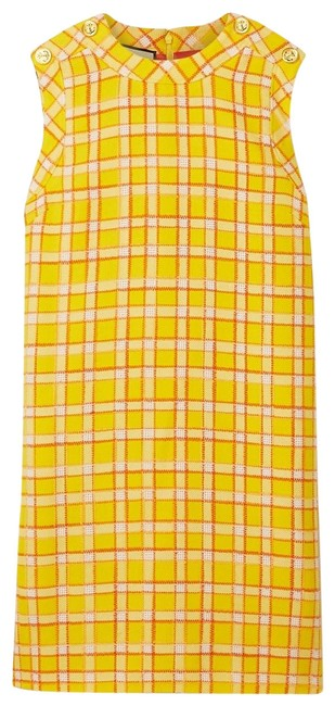 Item - Button-embellished Checked Wool-tweed Mini It 42 Short Casual Dress Size 6 (S)