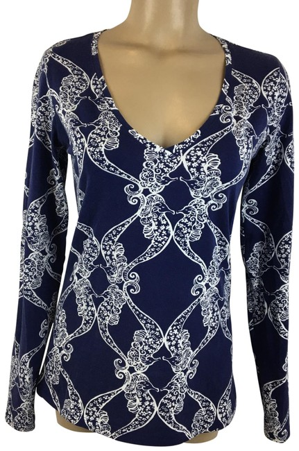 Item - Blue & White Print Blouse Size 6 (S)