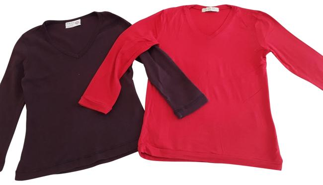 Item - Red /Burgundy 3/4 Sleeves Two In The Bundle Tee Shirt Size 2 (XS)
