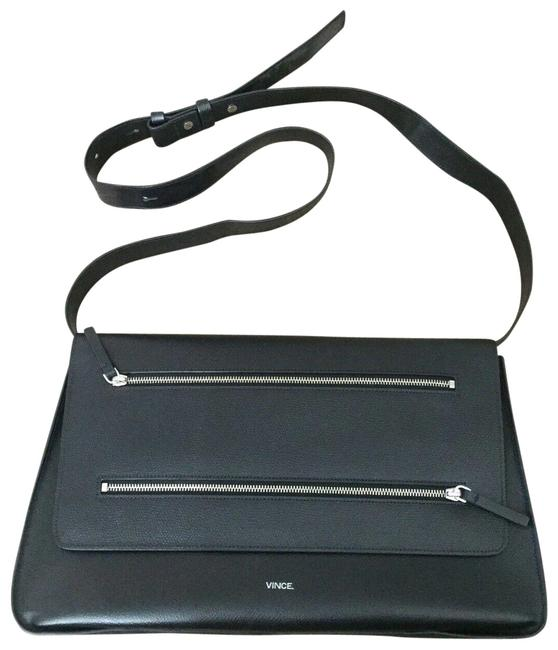 Vince Zip Line Black Leather Shoulder Bag Vince Zip Line Black Leather Shoulder Bag Image 1