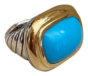 David Yurman David Yurman Waverly Blue Turquoise 18K Gold 925 Cable Ring