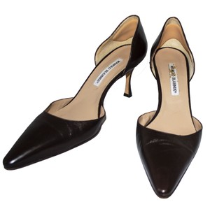 Manolo Blahnik Leather Pointed Toe Classic Designer Formal Brown Pumps