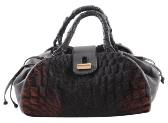 Item - Ponyhair-trimmed Handle Black Brown Pony Fur Satchel