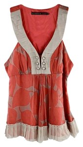 Development by Erica Davies Anthropologie Silk Leaves Print Pretty Top Dark Pink, Beige