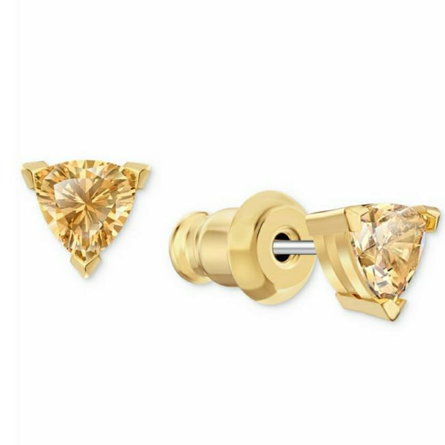 Item - Yellow Triangle Crystal Stud Earrings