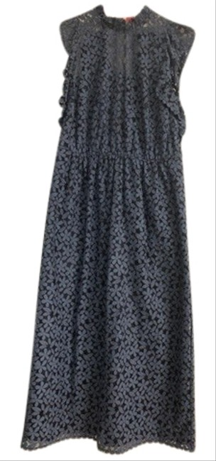 Item - Blue Floral Mid Mid-length Cocktail Dress Size 8 (M)