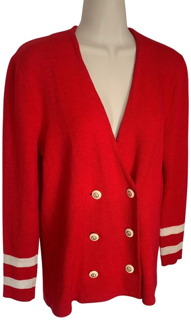 Item - Red and Cream Double Breasted Santana Knit Jacket Blazer Size 4 (S)