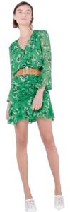 Veronica Beard short dress Green White Silk Ruffle Ruched Gathered Floral on Tradesy