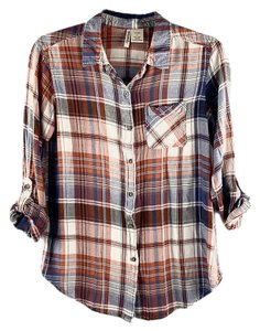 Passport Plaid Roll-tab Buttoned Worn Faded Button Down Shirt Red, Blue, Beige