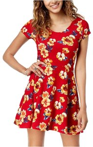 Planet Gold Planet Gold Juniors' Printed Double-Scoop Skater Dress