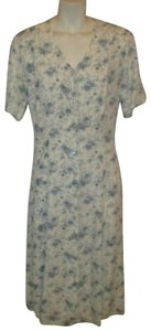 All That Jazz short dress white & blue Floral Short Sleeve Button Down Vintage Oneam001 on Tradesy