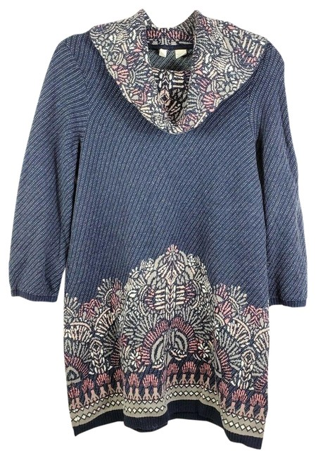 Item - Moth Boho Cowl Neck Tunic Pink Blue Sweater