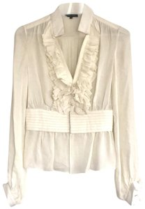 Alvin Valley Sheer Silk Ruffle Pleated Party Top Cream