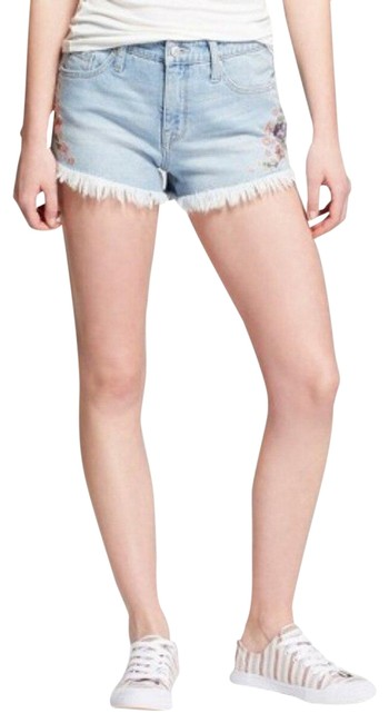 Item - Blue Women's High-rise Floral Embroidered Jean Mossimo Shorts Size 10 (M, 31)