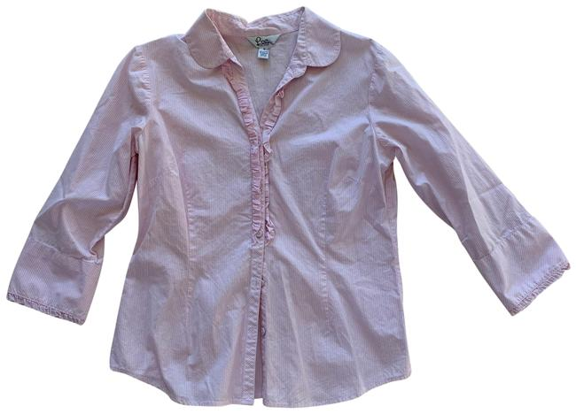 Item - Pink and White Ruffled Like New Button-down Top Size 12 (L)