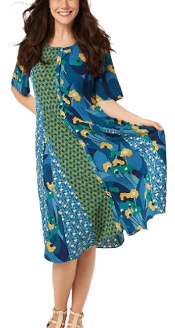 Item - Blue Waves Woven Mixed Print Long Casual Maxi Dress Size 4 (S)