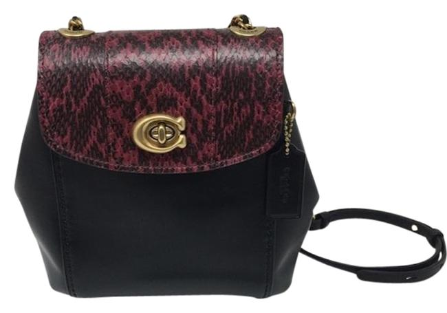 Item - Crossbody Parker Convertible 16 Color: Black/ Brass/Deep Red Leather Backpack