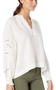 Frye Embroidered Linen Top White