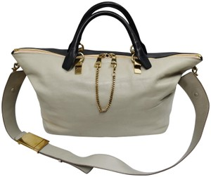 Chloé Baylee Two-tone Leather Tote in Navy & Gray