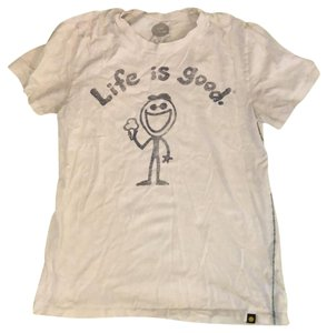 Life is Good T Shirt beige and black