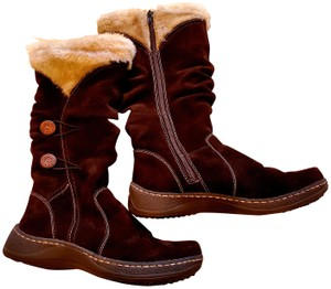Bare Traps Suede Leather Water-resistant Faux Fur Buttons BROWN Boots