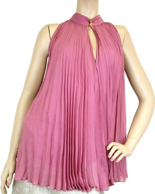 Item - Pink W Women's Silk Pleated W/Buttons 40 307275 Halter Top Size 4 (S)