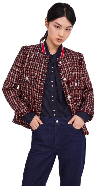 Item - Red/Blue New Tweed Pearl Buttons Ref 2148/667 Blazer Size 4 (S)