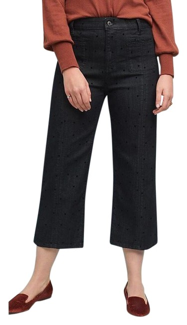Item - Black Anthro Pilcro High-rise Cropped Polka Trouser/Wide Leg Jeans Size 6 (S, 28)