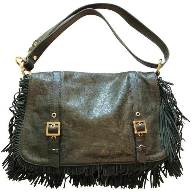 Item - Forest Fringe Green Leather/Suede Cross Body Bag