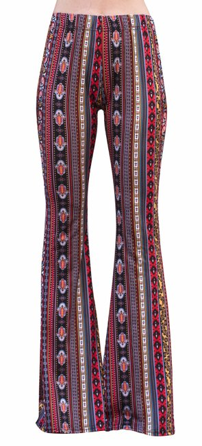 Item - Red/Yellow High Waist Comfy Yoga Ethnic Tribal Stretch 70s Bell Pants Size 12 (L, 32, 33)