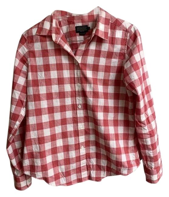 Item - Red Womens Gingham Shirt Blouse Red/White Sz: Medium. Condition Is Pre-owned. Shipped with Usps First Button-down Top Size 8 (M)