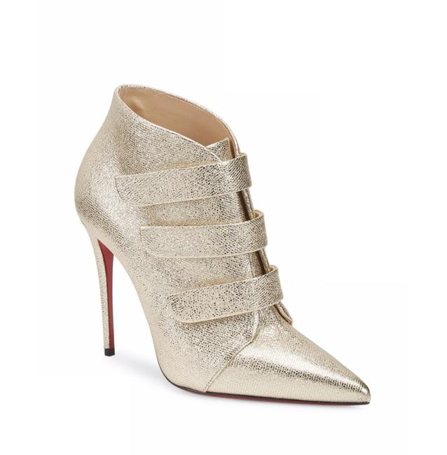 Christian Louboutin Gold 100mm Platine Velcro Strappy Lame Triniboot Metallic C490 Boots/Booties Size EU 40 (Approx. US 10) Regular (M, B) Christian Louboutin Gold 100mm Platine Velcro Strappy Lame Triniboot Metallic C490 Boots/Booties Size EU 40 (Approx. US 10) Regular (M, B) Image 1