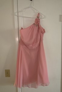 Alfred Angelo Pink Cotton and Polyester with Flowy Chiffon Feel. Disney Fairy Tale Feminine Bridesmaid/Mob Dress Size 14 (L)