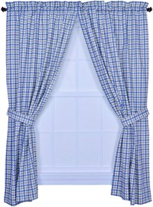Blue Bristol Collection Two-tone Plaid 68 By 63-inch Tailored Decoration