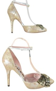 Rochas Metallic Rose Pumps Beaded Pink Formal