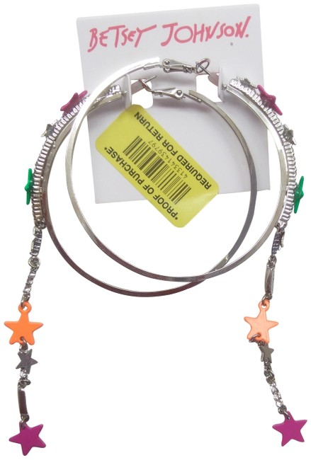 Item - Orange New Silver Hoops with Neon Star Earrings