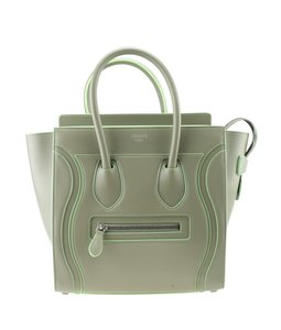 Celine Leather Tote in GreyxGreen