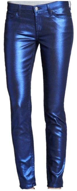 Item - Coated Electric Blue Metallic Skinny Jeans Size 4 (S, 27)