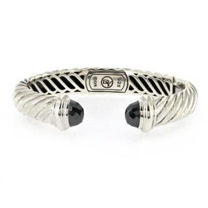 David Yurman DAVID YURMAN 925 Silver Waverly Cable Black Diamond Hinged Bangle