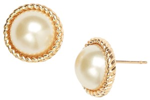 Kate Spade 14k gold rope 'seaport' faux pearl stud earrings