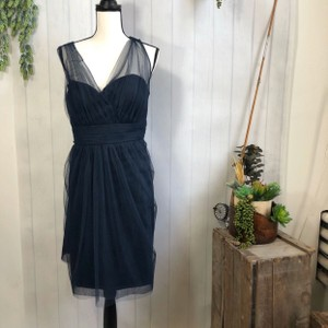 Jenny Yoo Navy Polyester Collection Tulle V Neck Traditional Bridesmaid/Mob Dress Size 20 (Plus 1x)