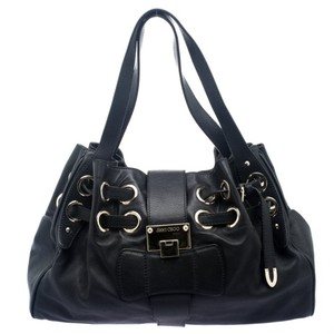 Jimmy Choo Leather Suede Tote in Black