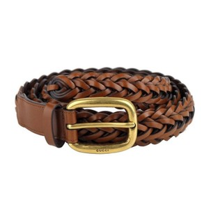 Gucci Brown Braided Leather Belt with Gold Buckle 380606 2535 (95 / 38) Groomsman Gift