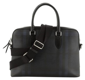 Burberry Leather Satchel in Black, Blue