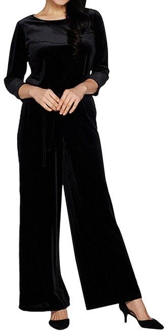 Joan Rivers Black Petite Length Velour With 3 4 Sleeves Romper Jumpsuit Tradesy
