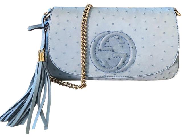 Gucci Soho In Light Blue Ostrich Leather Cross Body Bag Gucci Soho In Light Blue Ostrich Leather Cross Body Bag Image 1