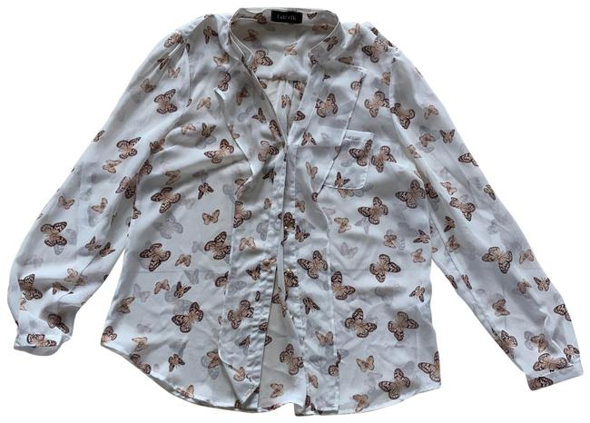 Item - Cream White Brown L Butterfly Button-down Top Size 12 (L)