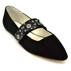 Bettye Muller Embroidered Mary Jane Black Flats