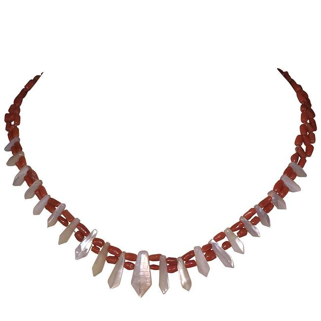 Item - Multicolor Victorian Red Coral and Mother Of Pearl Pickets and Berries Necklace