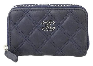 Chanel Chanel lambskin round coin purse navy leather